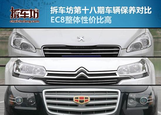 第十八期车辆保养对比 EC8整体性价比高