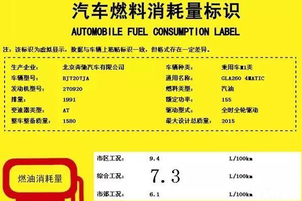 曝国产新款奔驰GLA油耗信息 或年内上市