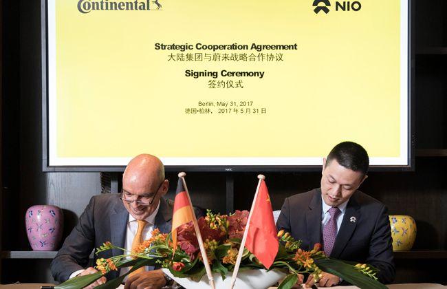 蔚来汽车与德国大陆签署战略合作框架协议