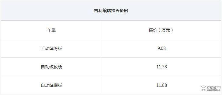吉利缤瑞将于8月30日上市 预售9.08万元起