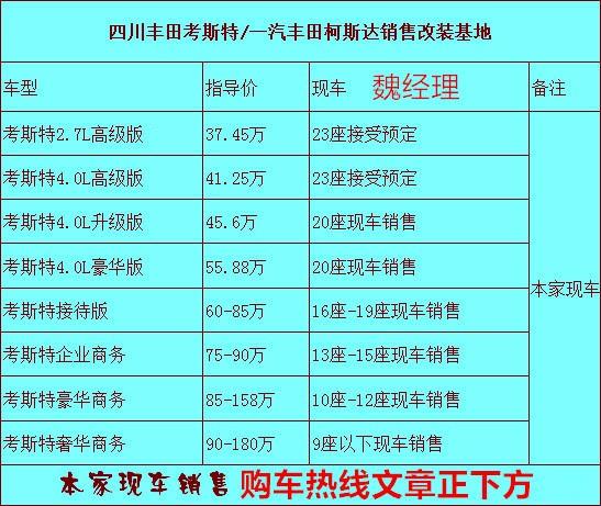 丰田考斯特12座公告改装车 原厂12座价格