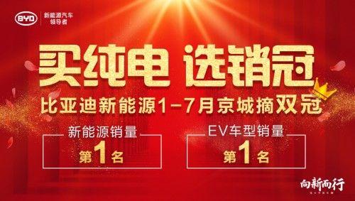 比亚迪新能源持续引领 摘得1-7月北京市场双销冠