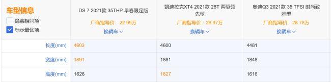 预算25万,DS 7和奥迪Q3、凯迪拉克XT4 哪个更有优势?